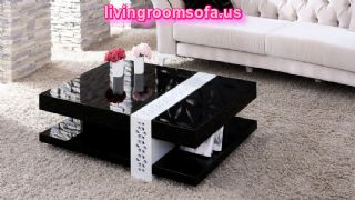 Modern Square Black Wood Coffee Table