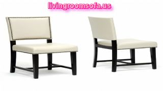Nottingham Cream Faux Leather Modern Dining Chairs