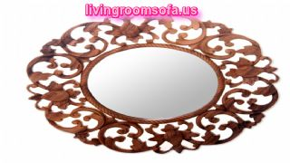 Oak Carved Rounded Antique Wall Mirror Design