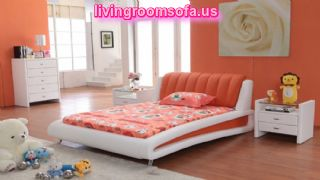 Orange Sweet Bedroom Decorating Ideas With White Bedroom Sets