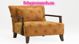 Pattern And Brown Solid Wood Legs Interesting Orange Accent Chair