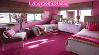 Polka Dots Pink Girls Twin Bedroom