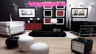 Red And Black Living Room Furniture Coffe Table Ottomans