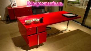 Red And Modern Table,contemporary Italian Office Furniture