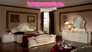 Rococo Beige Gold Italian Retro Bed