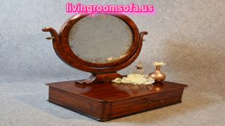 Rounded Two Faced Antique Vanity Mirror Design