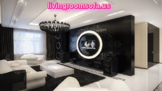 Sharp White Sofa In Black Living Room Decoration