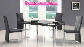 Simple Modern Contemporary Dining Room Tables Black Chairs