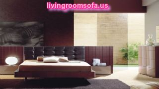 Splendid Contemporary Bedroom Furniture Ideas With Sweet Black Colors And Black Fur Rug Plus Ornament Painting Framed Wall