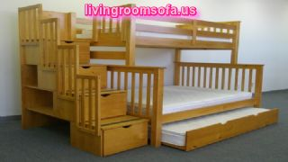 Stairway Bunk Bed Honey Trundle