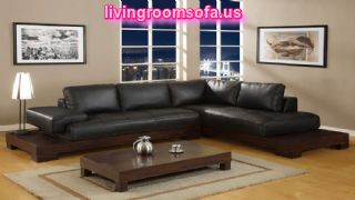 stylish black leather living room l shaped sofa design