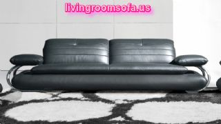 Unique Living Room Black Leather Sofa