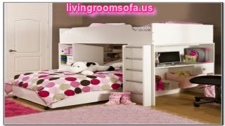 White And Modern Cool Loft Beds For Girls