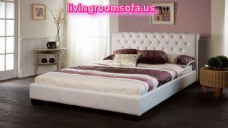 White Color Trendy Bed Frames Wooden Flooring Idea