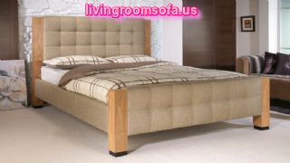 Wooden And Fabric Bed Frame Design Idea