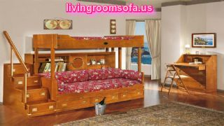 Wooden Luminous Bunk Bed Cool Kids Bedroom