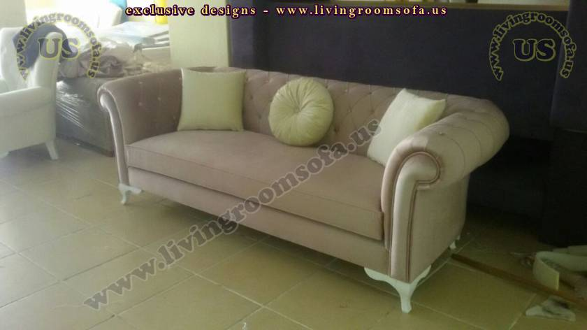 Beige Fabric Chesterfield Couch Designs
