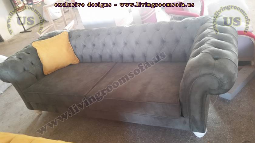 Black Nubuck Exclusive Chesterfield Sofa Design
