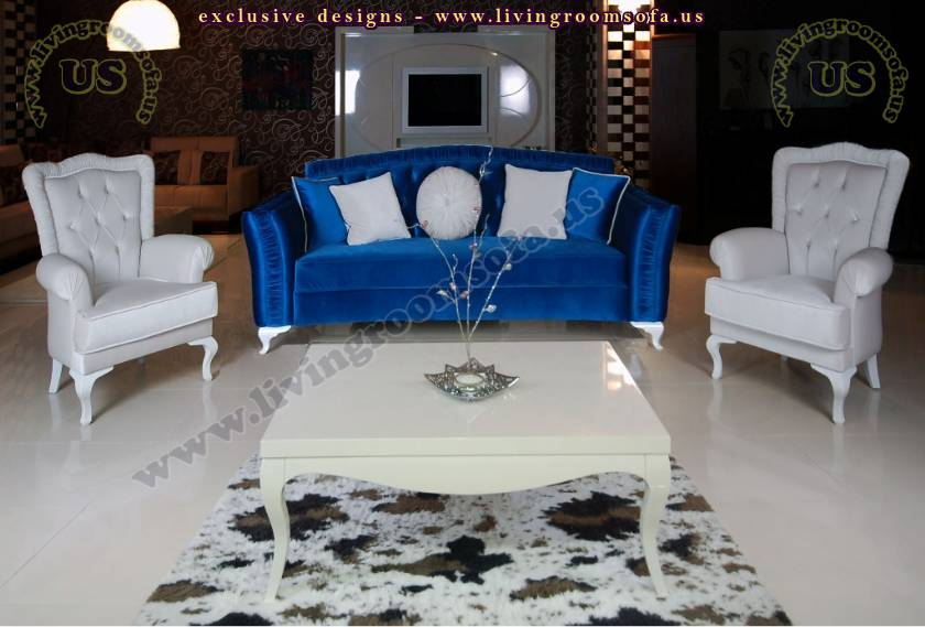 Blue White Avant Garde Sofa Set Beautiful Living Room Design