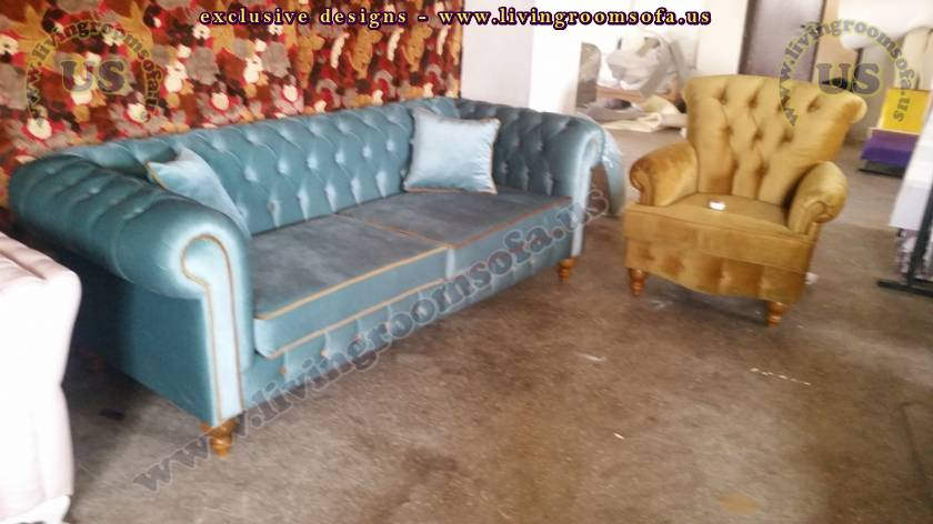 Cadet Blue Chesterfield Sofa And Orange Bergere