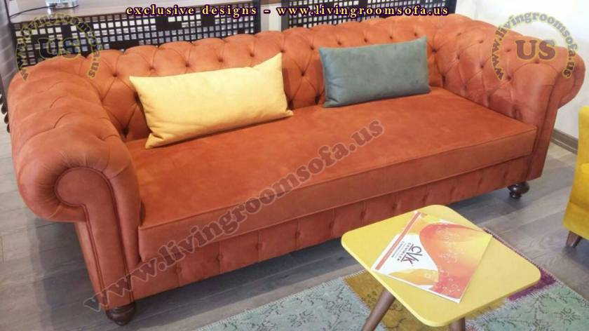 Carrot Orange Chesterfield Couch Design