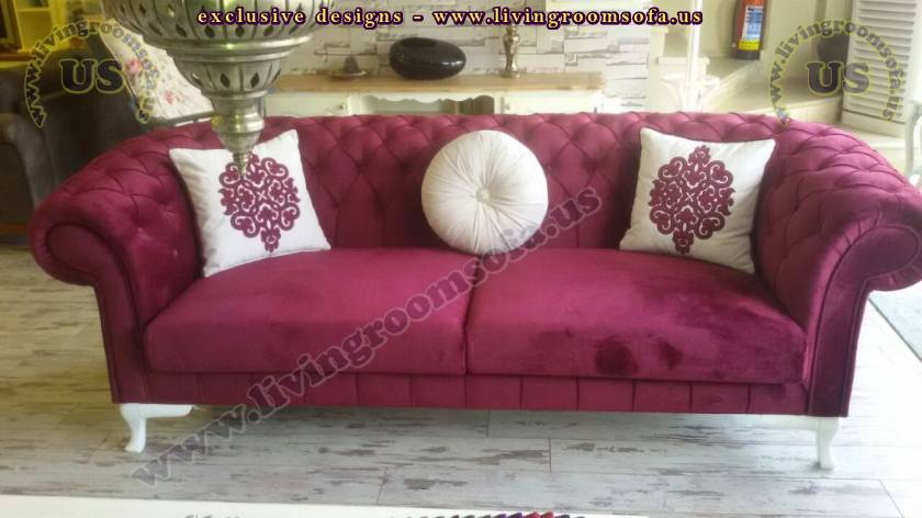 Claret Red Chesterfield Couch Round And Square Pillows