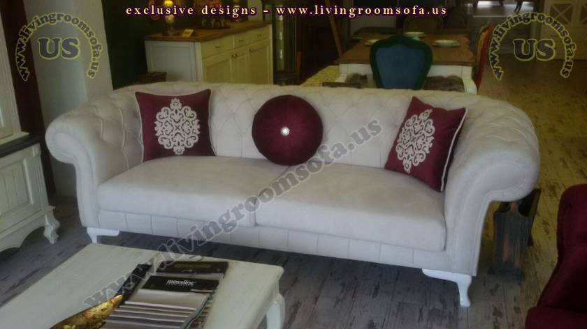 Exclusive Chesterfield Sofas White Fabric