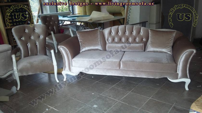Gray Velvet Avant Garde Exclusive Sofa Set Living Room Design