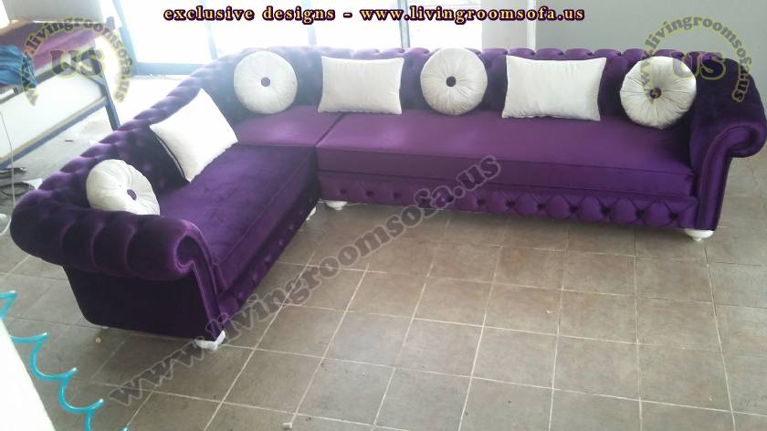 Purple Exclusive Chesterfield Sofa L Shaped Design
