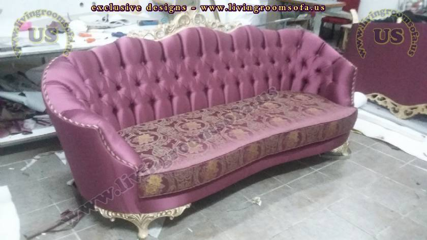 Traditional Couch Design Purple Fabric Exclusive Sofas