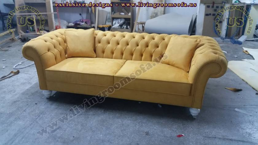 Yellow Fabric Chesterfield Sofa Beautiful Quilted Couches