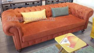 Burnt Orange Chesterfield Counch Nubuck
