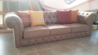 Nubuck Sandy Brown Exclusive Chesterfield Sofa Design