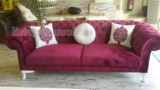 Purple Fabric White Pillows Exclusive Chesterfield Couch