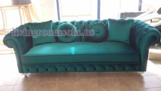 Turquoise Surf Velvet Chesterfield Couch Design