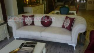 White Fabric Purple Pillows Exclusive Chesterfield Couch
