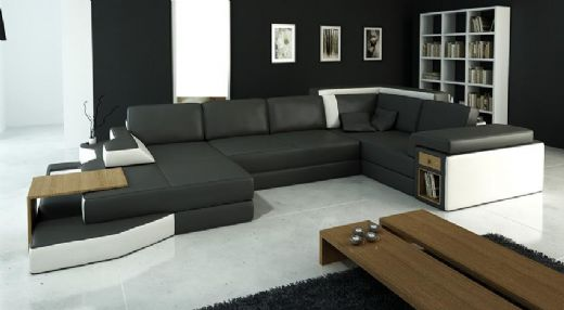 Modern Sectional Leather Sofa, Contemporary Livingroom Sofa