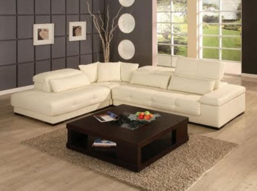 Livingroom Sofa, Modern Sectional White Leather Sofa