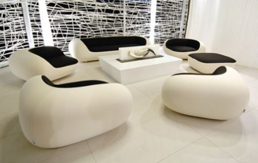 Modern Sofa, Modern Livingroom, Black and White, Microfiber, Rounded