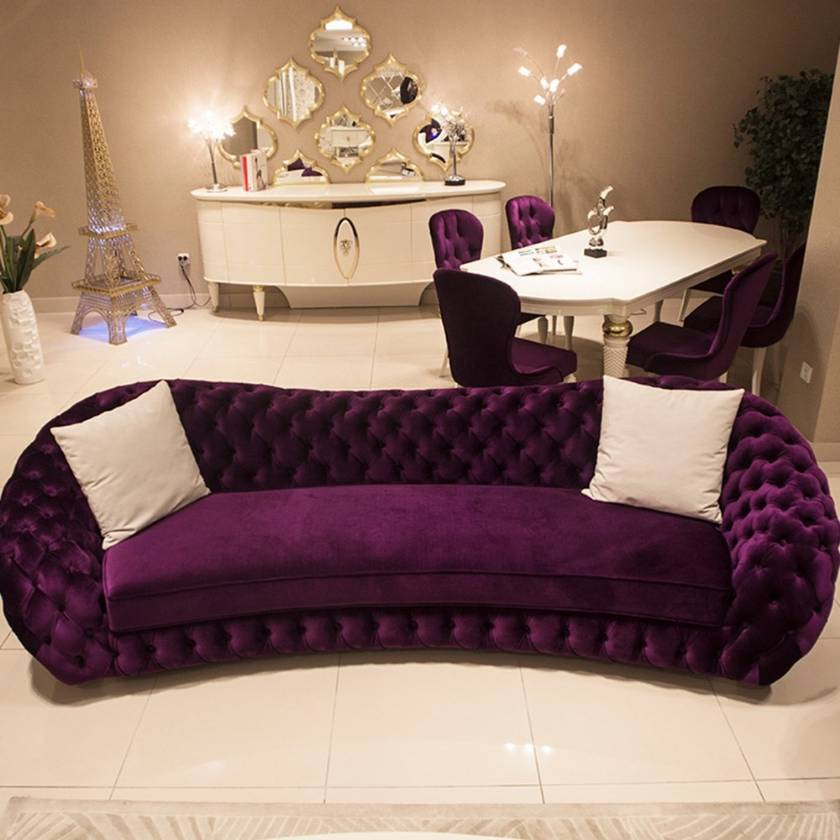 Amazing Living Room Purple Chesterfield Couch white dining furniture and purple chairs
