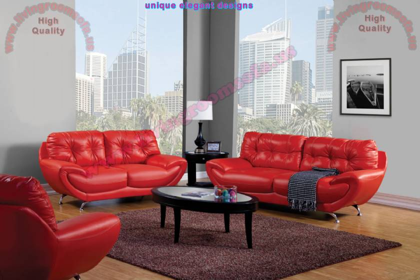Apartment size living room design red leather sofas