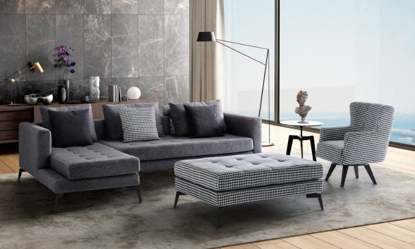 apartment size modern corner sofa with pouf and chair small spaces