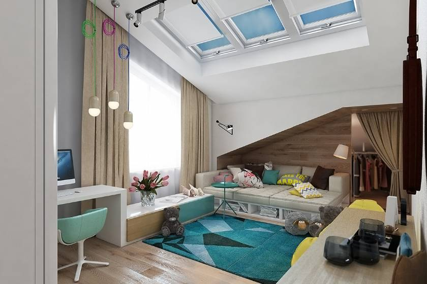 Attic Cute Teenage Bedroom Design modern style for boys or girls