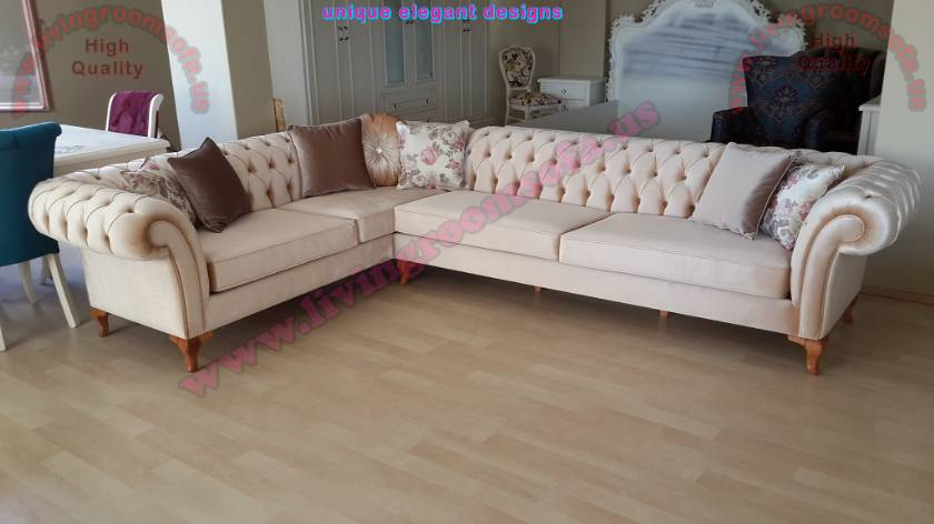 Beige velvet chesterfield corner sofa design
