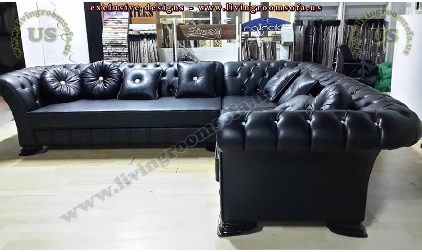 black leather sectional chesterfield sofa