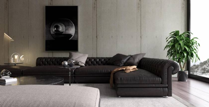 Black Leather sectional L shaped sofa luxury modern designs