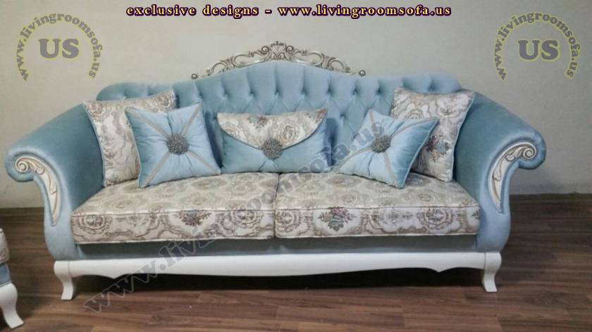 blue fabric luxury couch handmade design