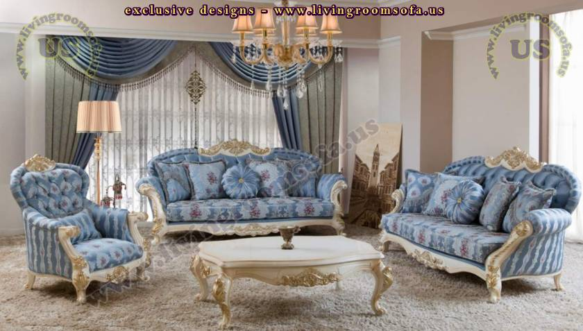 Delightful Blue Retro Living Room Design Elegant Sofa Set