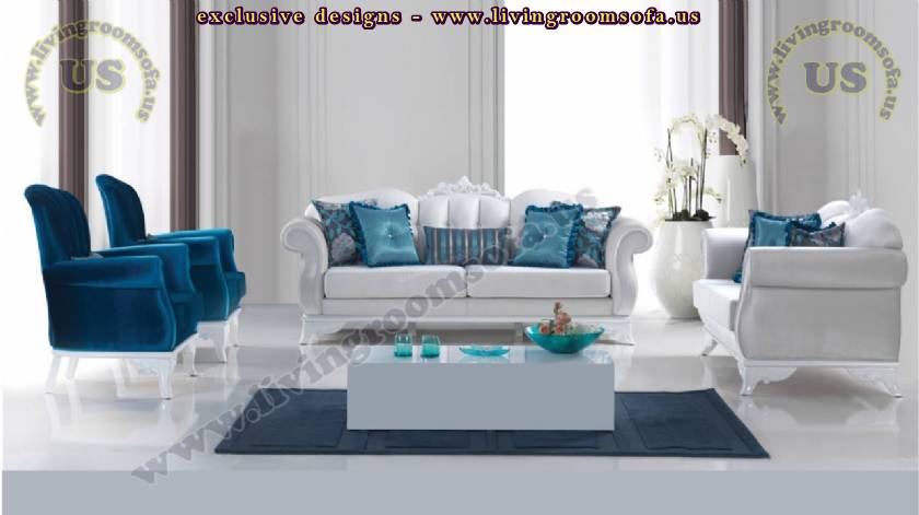 blue tulip retro sofa set modern living room design