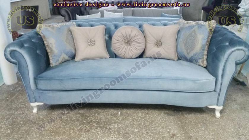 blue velvet casual comfort chesterfield sofas